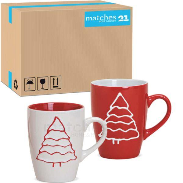 Tassen Weihnachtstassen - Tannenbaum Keramik rot / weiß 36 Stk 280 ml