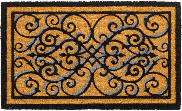 Fußmatte Kokosmatte Indoor Ornamente natur schwarz rechteckig 1 Stk - 45x75 cm
