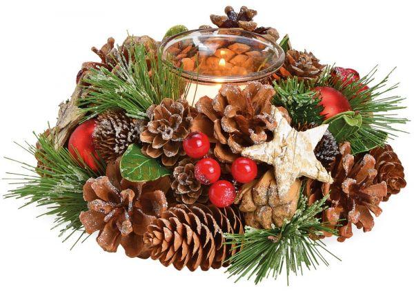 Gesteck Advent Weihnachten dekoriert mit Zapfen grün rot & 1 Teelichtglas 17 cm