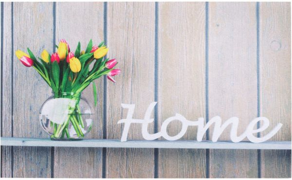 Fußmatte Gummimatte OUTDOOR DECOR Home auf Holzbrett mit Blumenvase 45x75 cm