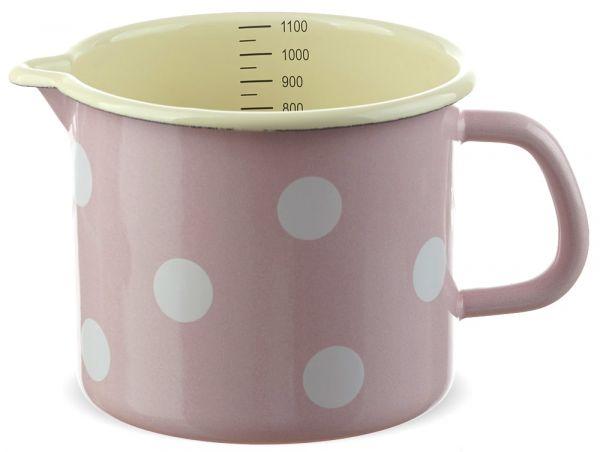 Email Milchtopf mit Skala rosa gepunktet Emaille Topf / Messbecher Ø 12 cm 1000 ml