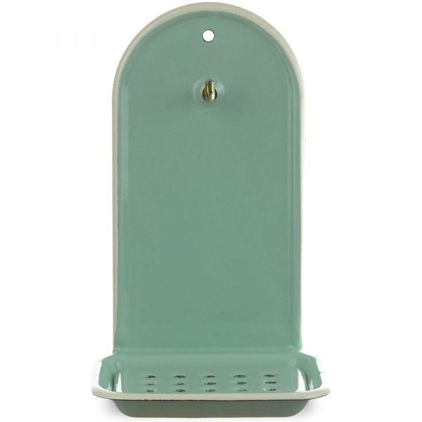 Email Seifenschale zum Hängen / Wandmontage mit Haken mint grün / creme 13x10x21 cm