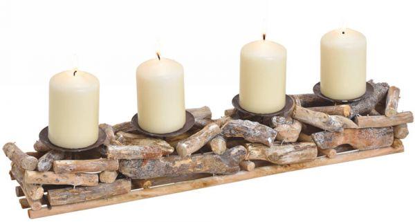 Rustikales Adventsgesteck Wurzelholz Treibholz Holz Altholz 4 Kerzenhalter 50 cm