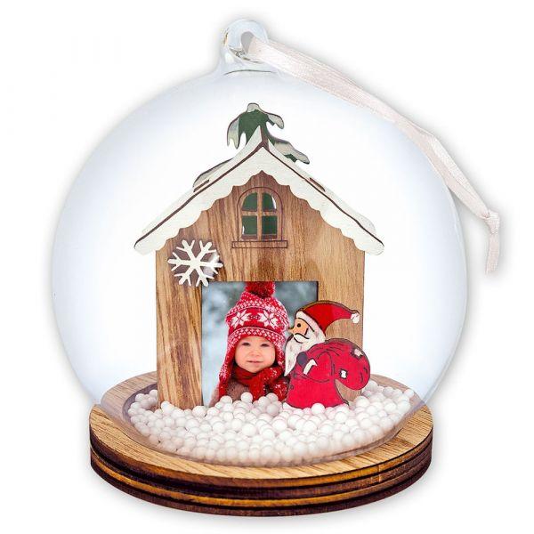 Foto Hänge-Schneekugel Bilderrahmen Weihnachten NIKOLAUS & HAUS Ø 9x12 cm