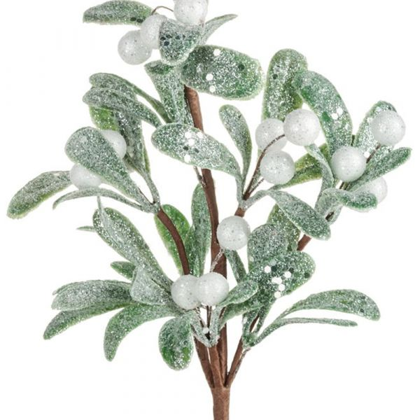 Mistelzweig gezuckert Dekozweig weiße Beeren Deko Zweig Weihnachten 1 Stk 37 cm