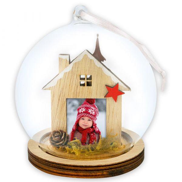Foto Hänge-Fotokugel Bilderrahmen Weihnachten ZAPFEN & HAUS 1 Stk Ø 13,5 cm