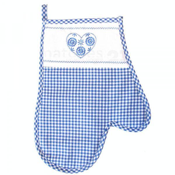 Topfhandschuh Landhaus Karo blau weiß & Herz Ofenhandschuh Handschuh 18x28 cm 1 Stk