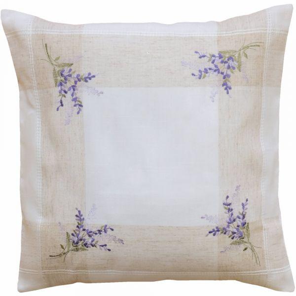 Kissenbezug Kissenhülle Heimtextilien Lavendel Leinenoptik beige / lila 40x40 cm