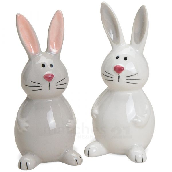 Süße Hasen Osterhasen Figuren Dekoration 2er Set sort weiß & grau Keramik 9 cm