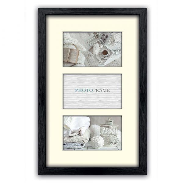 Bilderrahmen Passepartout für 3 Fotos Collage Multirahmen Holz schwarz 10x15 cm