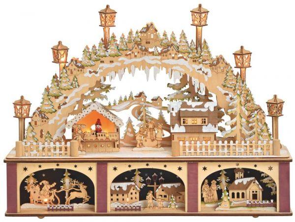 Schwibbogen 3D Lichterbogen Dorf & Sockel Beleuchtung Weihnachtsdeko 45x11x32cm