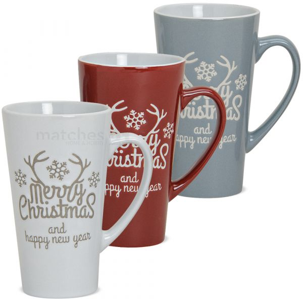 Tassen Becher Weihnachtstassen Keramik Merry Christmas weiß grau rot 3er Set 15 cm
