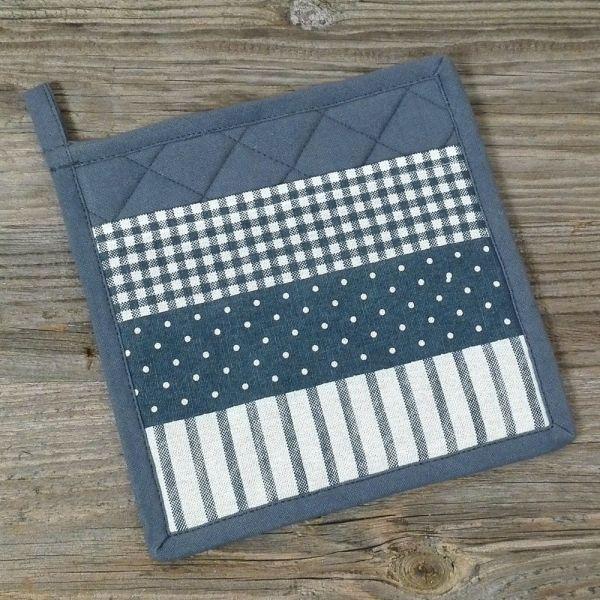 Topflappen zum Schlupfen Landhaus Premium LINA Textil Mix 20x20 cm blau