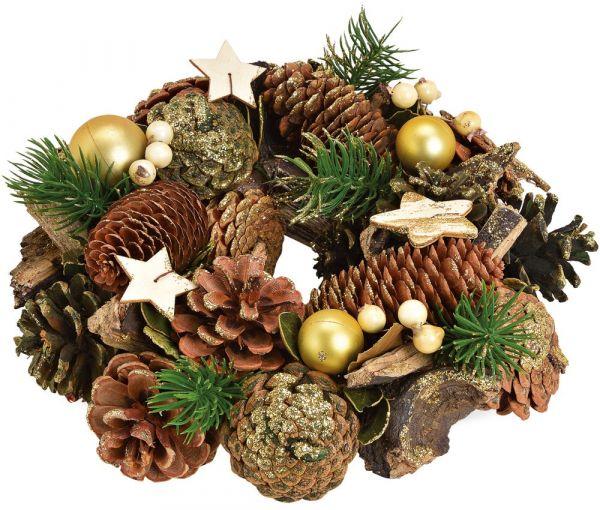 Tischkranz Weihnachtskranz Zapfen braun Kugeln gold Winterdeko 1 Stk - Ø 25 cm