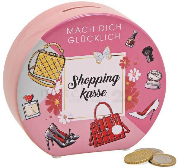 Spardose SHOPPINGKASSE Sparbüchse Keramik bunt rosa 1 Stk. 14x13 cm