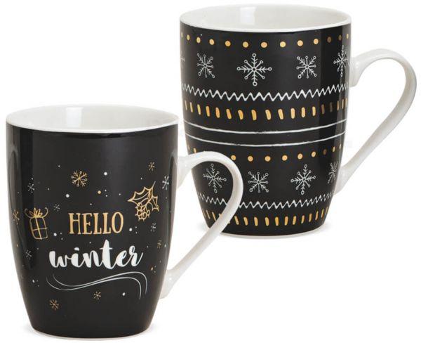 Tasse Weihnachtstasse Porzellan Hello Winter Weihnachten 1 Stk ** B-Ware **
