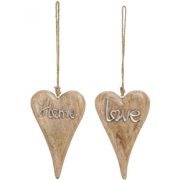 Holz Herzen Holzherzen Anhänger Schrift Home & Love aus Metall 2er Set je 26 cm