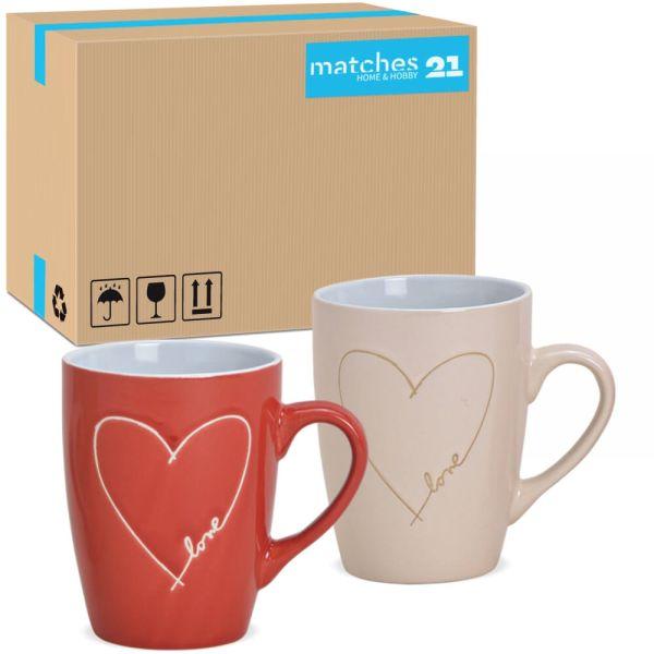 Tassen Kaffeetassen Steingut Herz & Love rot & beige 36 Stk 2-fach 8 cm / 280 ml