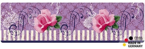 Teppichläufer Küchenläufer Pinke Rose 50x180 cm waschbar