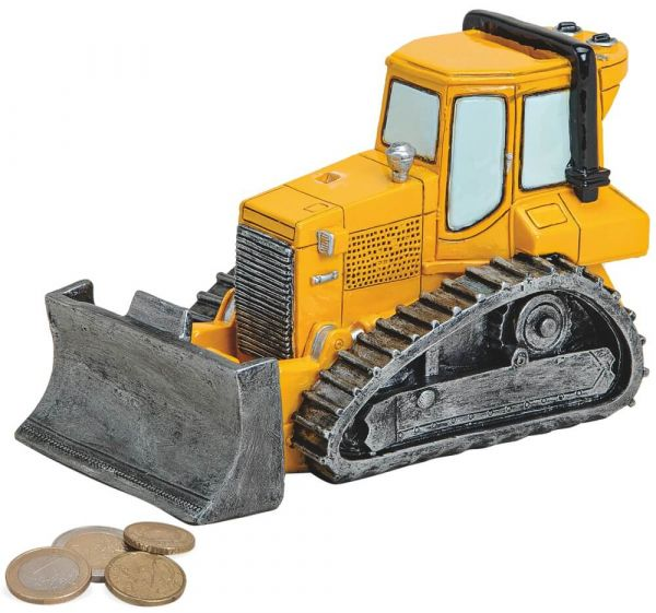 Spardose Laderaupe Raupe Bagger Baumaschine Sparbüchse Poly gelb 1 Stk 17 cm