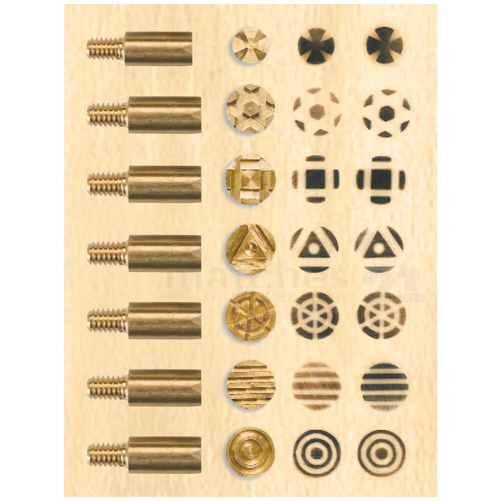 Aufsätze Geometrische Formen Brandmalerei Brennstempel Set 12 Stk