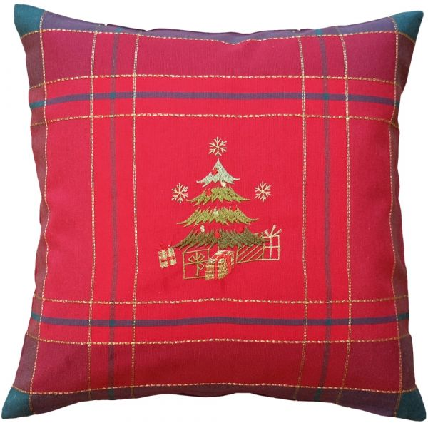 Kissenbezug Kissenhülle Weihnachten Christbaum gestickt 40x40 cm rot bunt gold