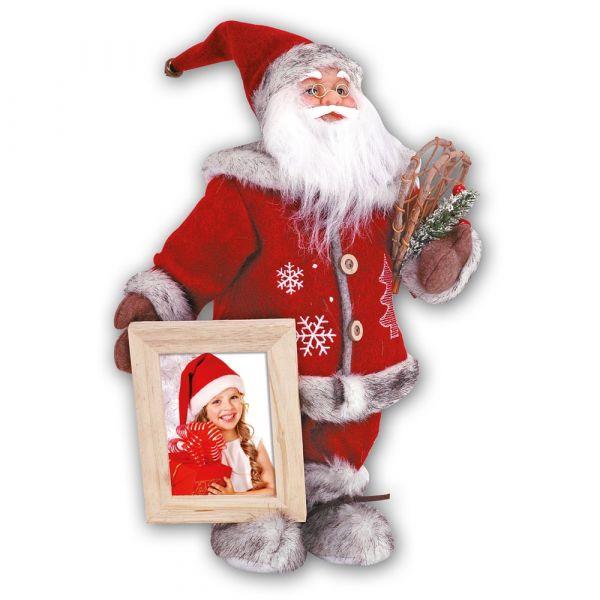 Weihnachtsmann Figur Dekofigur & Bilderrahmen Fotorahmen Holz natur 1 Stk 39 cm