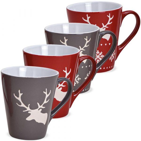 Tassen Kaffeebecher Weihnachten Hirsche rot & grau Steingut 4er Set sort 200 ml