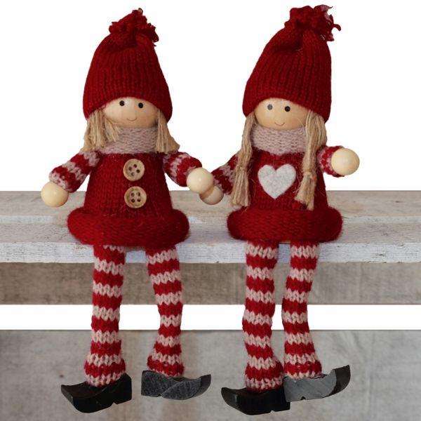 Kantenhocker Wichtel Junge & Mädchen Weihnachten Deko Figuren 2er Set rot 10 cm