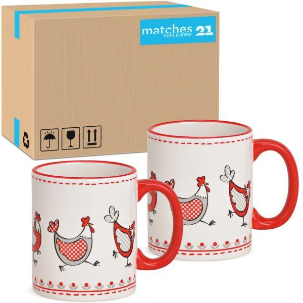 Tassen Kaffeebecher lustige Hühner rot weiß Keramik 48 Stk 330 ml 9 cm