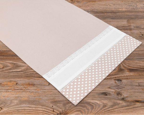 Tischläufer Mitteldecke Landhaus Premium TRAUDL Herzen beige weiß 40x150cm