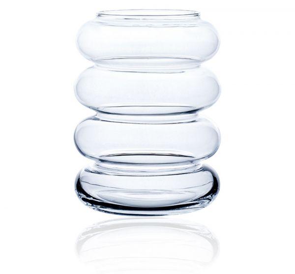 Blumenvase Dekoglas Dekovase Standvase Glas Wellenform Ringe 1 Stk - Ø 19 cm