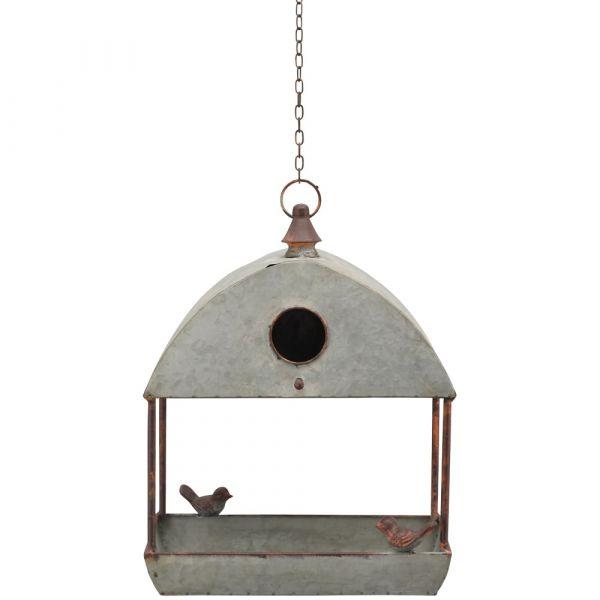 Futterplatz offener Käfig mit Flugloch Dach & Vogelfiguren Gartendeko Metall 30x38cm