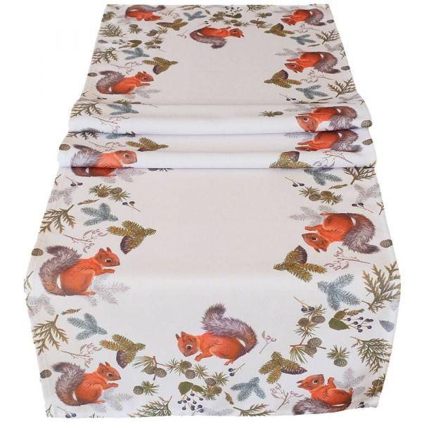 Tischläufer Tischwäsche Mitteldecke Herbst Eichhörnchen weiß Druck bunt 40x140cm