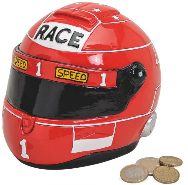 Spardose Motorradhelm Race Helm Sparbüchse Poly rot 1 Stk 14x11x11 cm