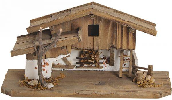 Krippe Holz Weihnachtskrippe Stall alpenländisch braun / weiß 31x11x14 cm