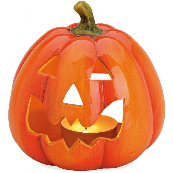 Jack O'Lantern Halloween Kürbis Windlicht Herbstdeko Tonkürbis Ton 1 Stk 14x17 cm