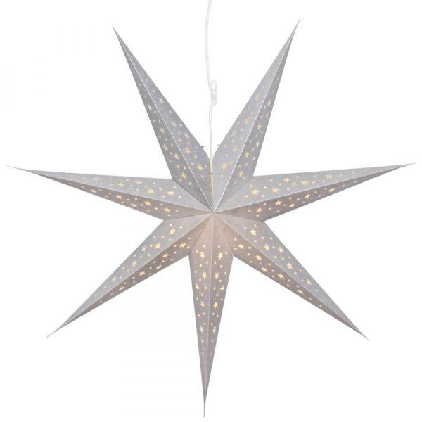 Weihnachtsstern Papier Leuchtstern hängend silber / Glitzereffekt Ø 75 cm