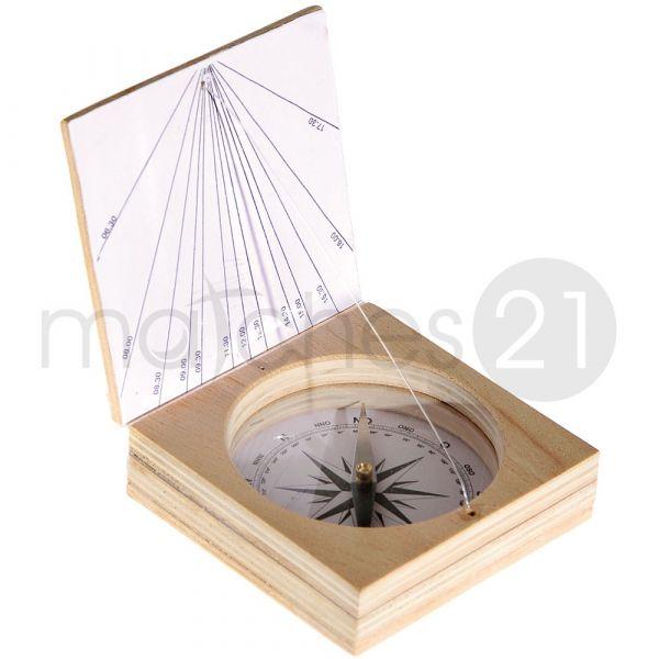 Magnetkompass mit Sonnenuhr Bausatz f. Kinder Werkset Bastelset ab 10 J.