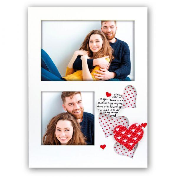 Bilderrahmen Galerierahmen Holz weiß gemusterte rote Herzen & Text - für 2 Fotos