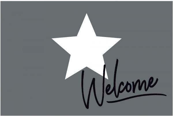 Fußmatte Fußabstreifer DECOR Welcome & Stern weiß & grau waschbar 40x60 cm