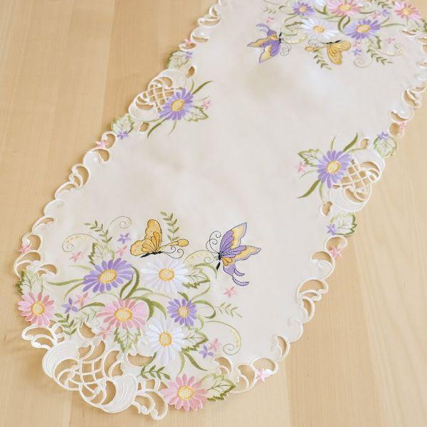 Tischläufer Mitteldecke Schmetterlinge Blumen Zierkante Stick bunt 40x90 cm oval