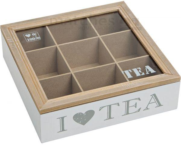 Holz Teebox Teekiste 9 Fächer mit Sichtfenster natur / weiß für Teebeutel