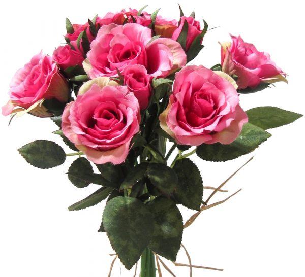 Kleiner Rosenstrauß gebunden Kunstblumen Blumenstrauß 27 cm 1 Stk - pink