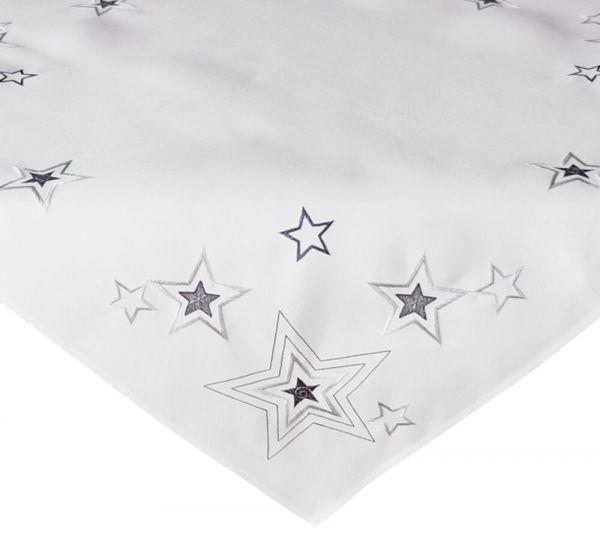 Tischdecke Mitteldecke weiß Weihnachten Sterne Stick silber & grau 85x85 cm