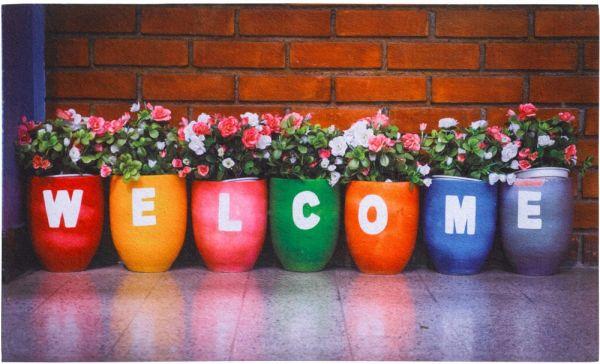 Fußmatte Gummimatte OUTDOOR DECOR bunt bepflanzte Blumentöpfe & Welcome - 45x75 cm