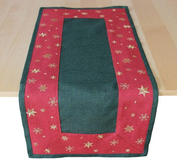Tischläufer Mitteldecke Sterne Bordüre gestickt Weihnachten 40x90 cm grün rot