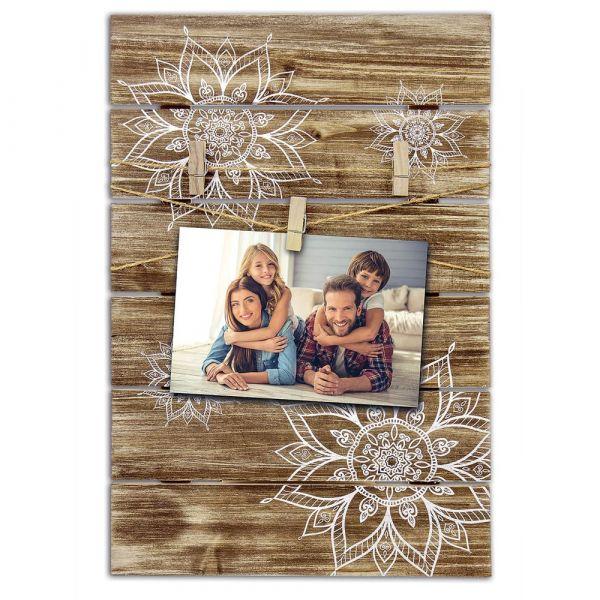 Bilderrahmen mit Clips Klammern Clipboard Rahmen Holz braun Ethno Blumen Motiv