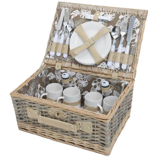 Picknickkorb 4 Personen Weidenkorb braun beige 24-tlg inkl Mehrweg Geschirr