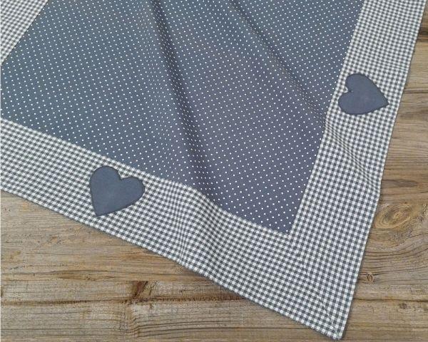 Mitteldecke Tischdecke Landhaus Premium LINA Stoffmix Herz 70x70 cm blau